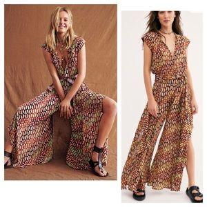 Free People One Sahara Pattern Split Leg Jumpsuit